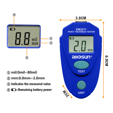 all sun all-sun EM2271 EM2271A Digital Mini Automobile Thickness Gauge Car Paint Tester Thickness Coating Meter Ship From Russia Lahore