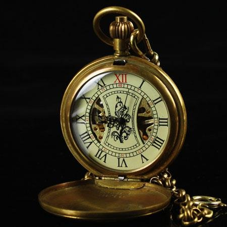 Antique Pure Copper Cover Skeleton Mechanical Hand Wind Pocket Watches