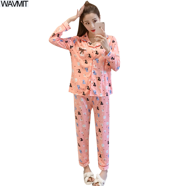 c46b0144bad3 Hot Sale WAVMIT Spring   Autumn Winter Girl Long Sleeve Pajamas For ...