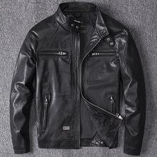 2019 spring Men black Genuine Leather Coats Motorcycle Jacket Real first layer sheep skin 4XL new clothing male bomber jacket