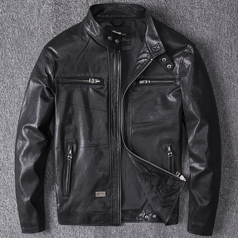Men's Winter Genuine Leather Jacket For Men 4XL Motorcycle Flight Pilot Bomber Jacket Natural Real Leather Male Aviator Coat