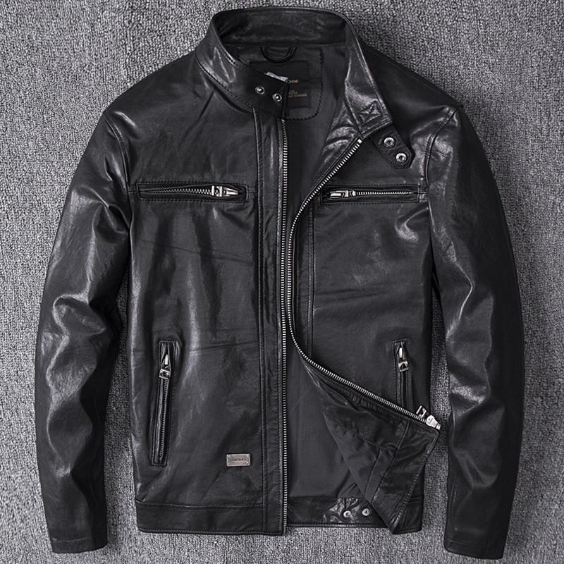 Men's Winter Genuine Leather Jacket For Men 4XL Motorcycle Flight Pilot Bomber Jacket Natural Real Leather Male Aviator Coat