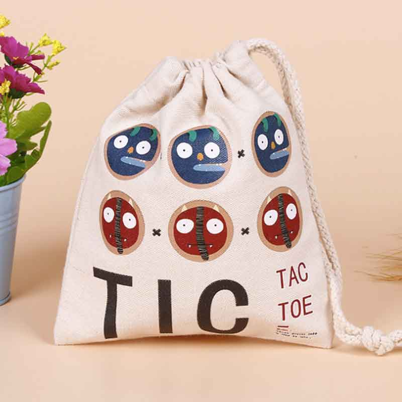 100pcs/lot Printed Logo Canvas Cotton Makeup Jewelry Storage Packing Bag Pouch Drawstring Bags Shopping Bag For Wedding Gifts