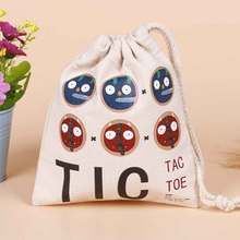 100pcs/lot Printed Logo Canvas Cotton Makeup Jewelry Storage Packing Bag Pouch Drawstring Bags Shopping For Wedding Gifts