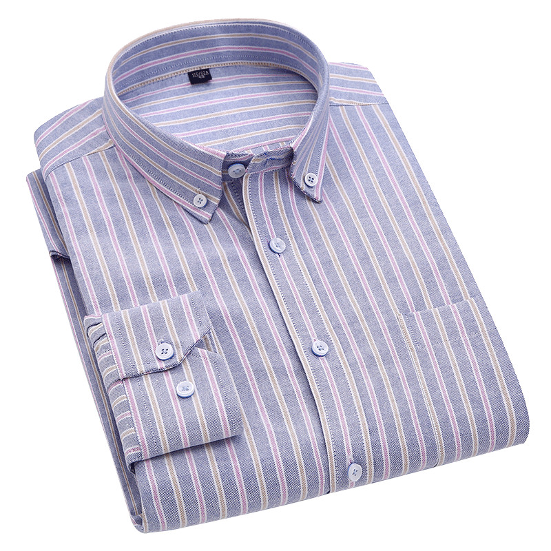 Breathable Oxford Pure Cotton Long Sleeve  Men Smart Casual Shirts Button Down Collar Leisure Striped Shirts For Male