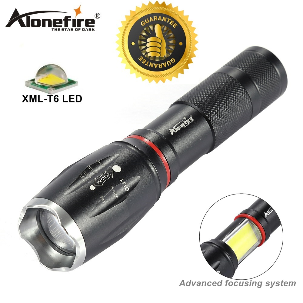 AloneFire G701 CREE XM-L T6 led flashlight 5000lm Aluminum waterproof Tactical Zoom Torch COB Magnet lantern AAA 18650 battery alonefire bk104 tactical series cree xm l t6 led 5 mode professional zoom tactical flashlight torch light
