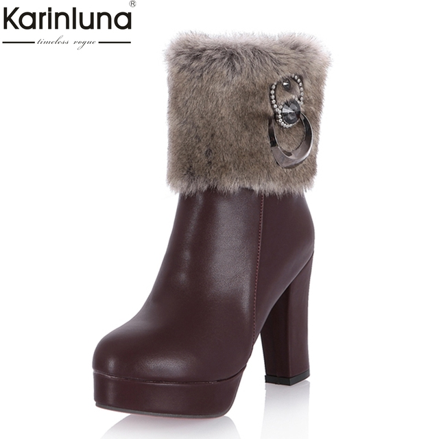 b87650467 KarinLuna 2018 tamanhos grandes 31-43 melhor mulher qualidade da moda botas  de neve das
