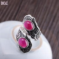S925 sterling silver jewelry women's adjustable natural stone fashion ring 2019 women's ring silver ring