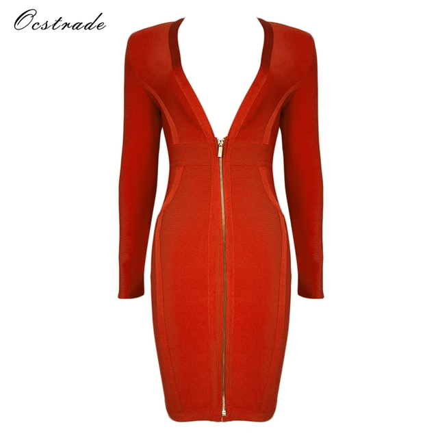 fc9b112655f3 Christmas Women New Arrival 2018 Red High Quality Long Sleeve Bodycon Dress  Deep v-neck Sexy Bandage Dress Party Vestidos