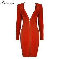 Ocstrade Women New Arrival 2017 Red High Quality Rayon Long Sleeve Bodycon Dress Deep V Neck