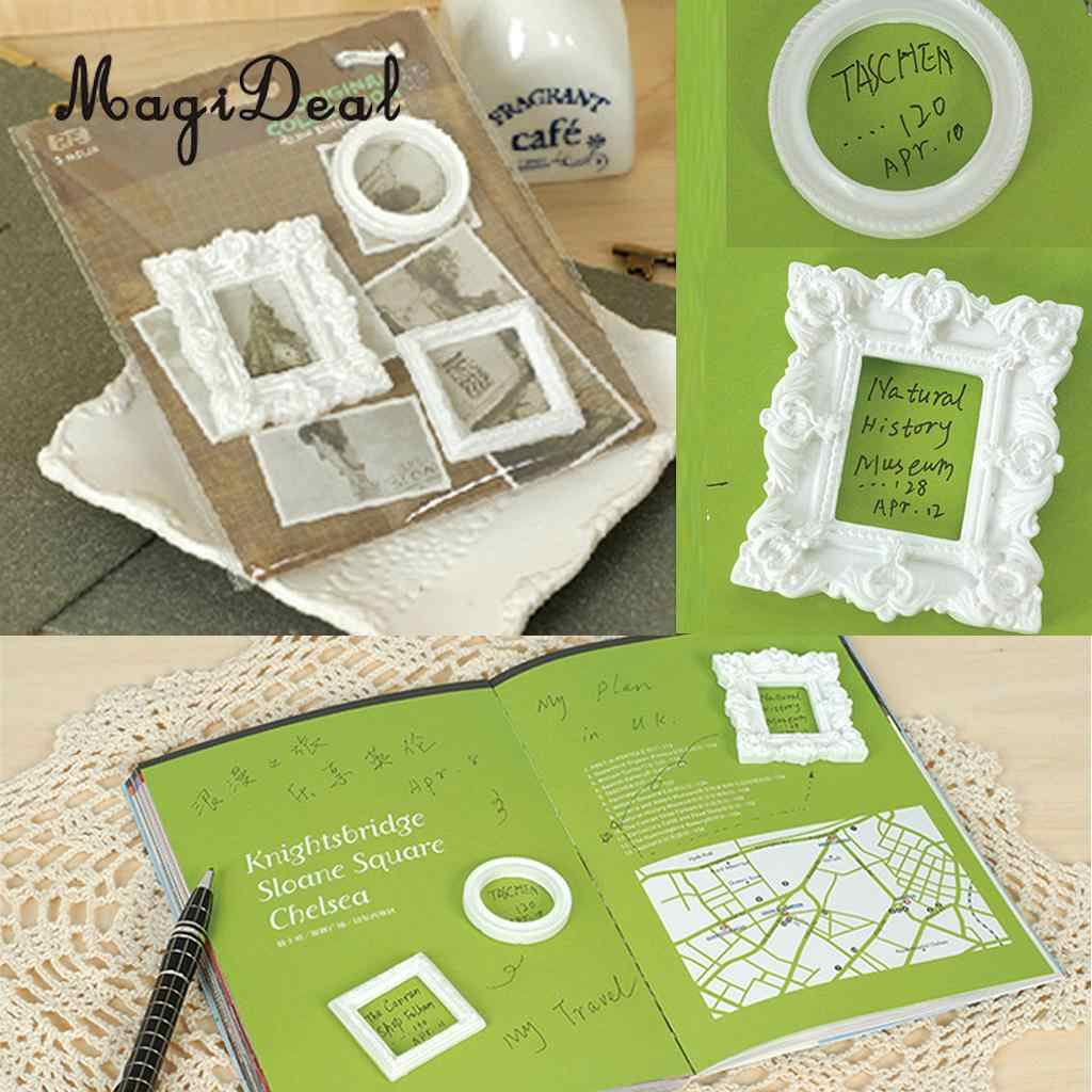 MagiDeal Novelty 3Pcs White Resin Picture Frames Scrapbooking Square & Rectangle Frames DIY Jewelry Headbands Decoration Gifts