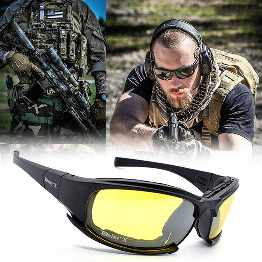 1da49f7e69 Daisy C5 Polarized Army Goggles Military Sunglasses 4 Lens Kit Men s Desert  Storm War Game Tactical