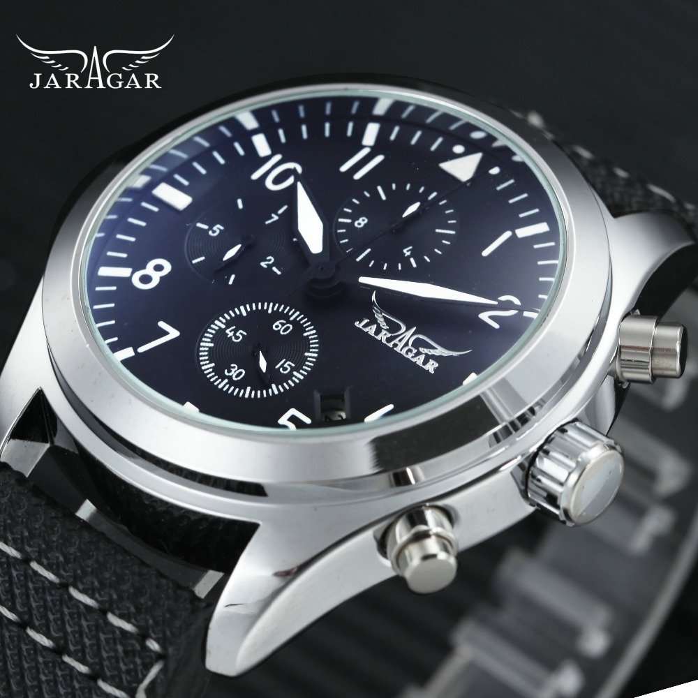 JARAGAR Men Mechanical Watch Blue Coated Glass Leather Band Working Sub-dials Arabic Number Dial Top Fashion Men Auto Wristwatch все цены