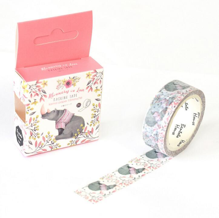 JA217 The Rhinoceros With Flowers Decorative Washi Tape DIY Scrapbooking Masking Tape School Office Supply Escolar Papelaria