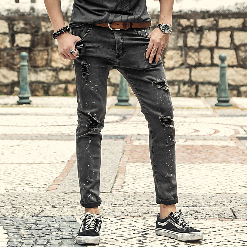 Men New Slim Autumn Winter Retro Ripped Holes   Jeans   Metrosexual Men European Style Washed Stretch Grey Button Fly   Jeans   K871