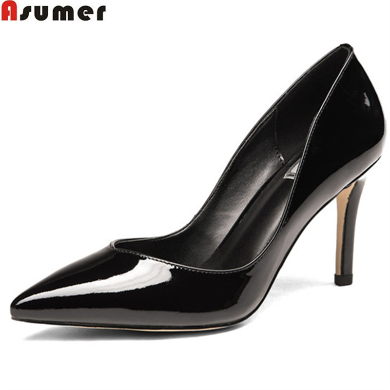 ASUMER 2018 spring autumn shoes woman new pointed toe elegant pumps women shoes thin heel genuine leather high heels shoes hee grand sweet patent leather women oxfords shoes for spring pointed toe platform low heels pumps brogue shoes woman xwd6447