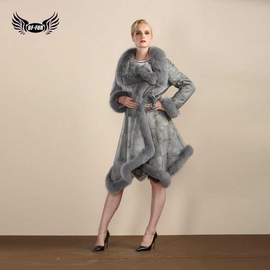 BFFUR 2017 Зима Новый Лисий меховой воротник из натуральной шерсти материал натуральный мех пальто для женщин с поясом Настоящее значение 122