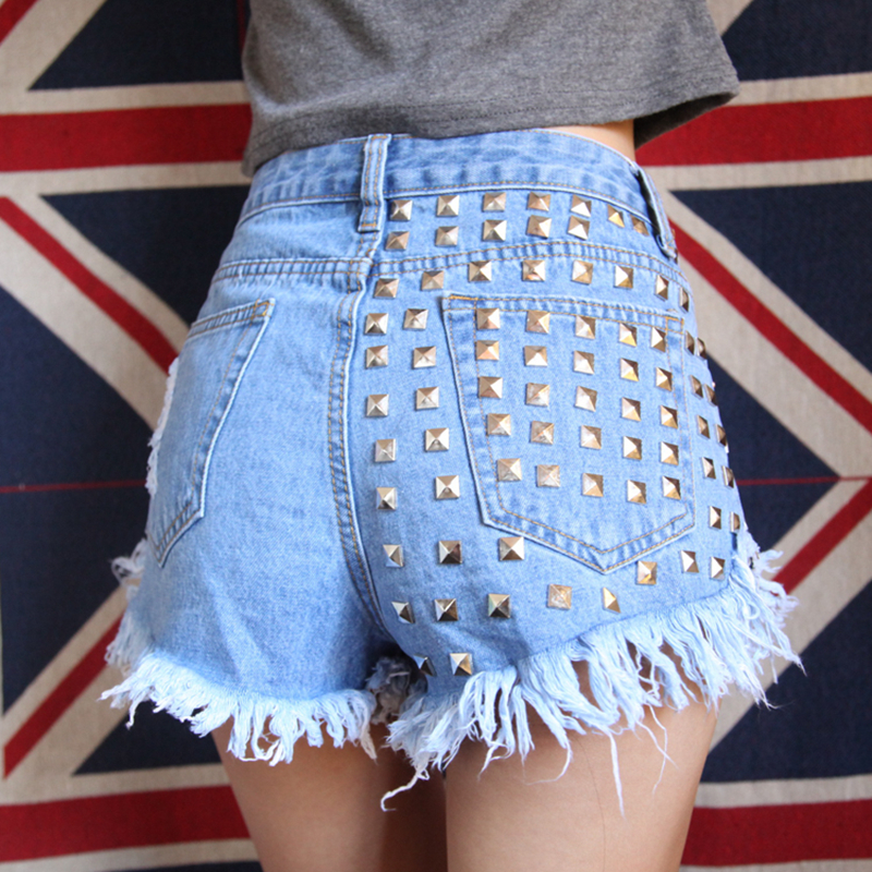 High Quality Sexy Hot Short Jeans Women Punk Style Rivet Vintage Hole Mid Waist Denim Skinny Short 3 Colours New Fashion in Shorts from Women 39 s Clothing