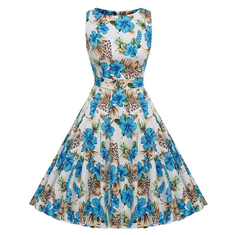 Kostlish Cotton Summer Dress Women 2017 Sleeveless Tunic 50s Vintage Dress Belt Elegant Print Rockabilly Party Dresses Sundress (66)