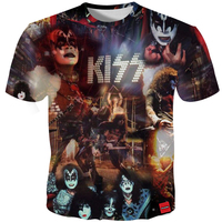 Cloudstyle 3D Tshirt Men KISS Hard Rock Band 3D Print Pop Metal Music Fashion Tees Tops