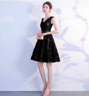 DongCMY Короткое Сексуальное мини коктейльное платье, элегантные вечерние платья на молнии больших размеров - Цвет: Черный