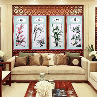 Mixed needle crewel embroidery silk Decorative painting / Vintage famous plum Orchid bamboo chrysanthemum Artwork home decor