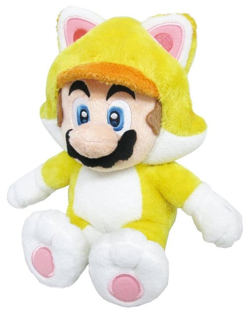 Super Mario Bros Soft Stuffed Animal Doll Plush Toys 3D World Neko Cat Mario