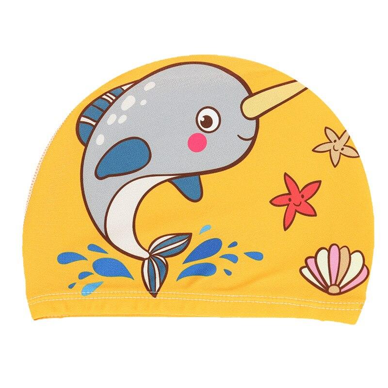 Elastic Cute Cartoon Printed Swimming Caps For Long Hair Kids Protect Ears Hat