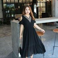 Vagary Plus Size Open Shoulder Summer Party Dress Women Black V Neck Beads Midi Dresses Elegant