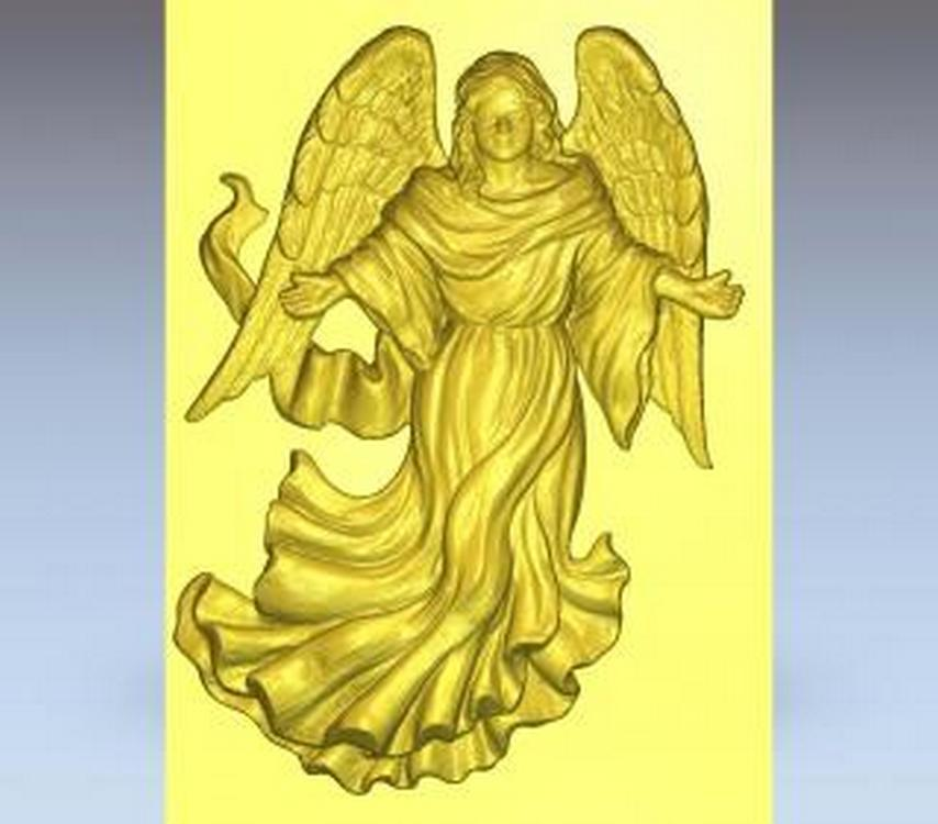 3d STL Model Relief for CNC Router /_ Angel Wings /_0039