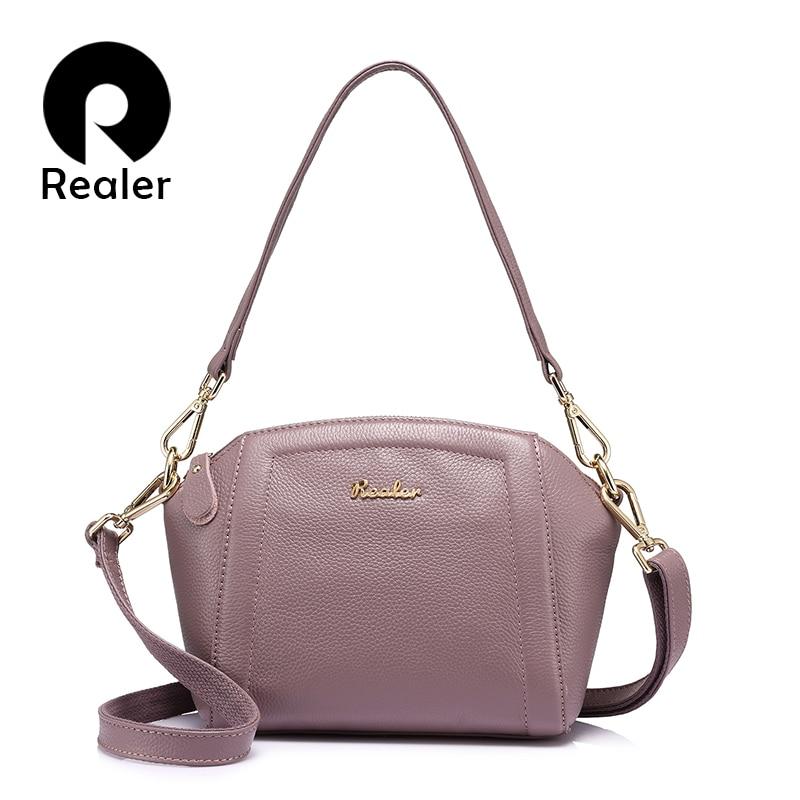 REALER brand fashion women genuine leather handbag high quality shoulder bag female zipper tote bag Light Green/Black/TaroPurple messenger bag