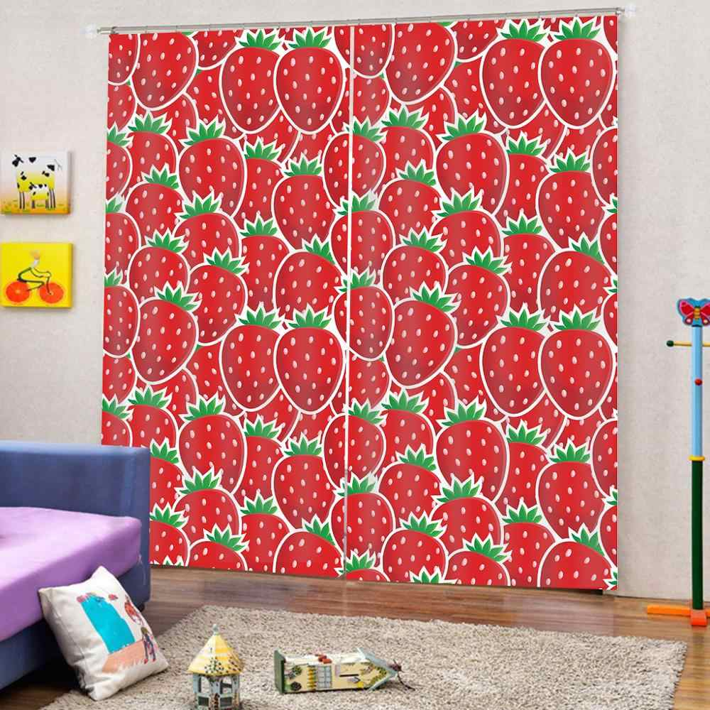 Luxury Blackout 3D Window Curtains For Living Room Bedroom red fruit Strawberry curtains for girls room