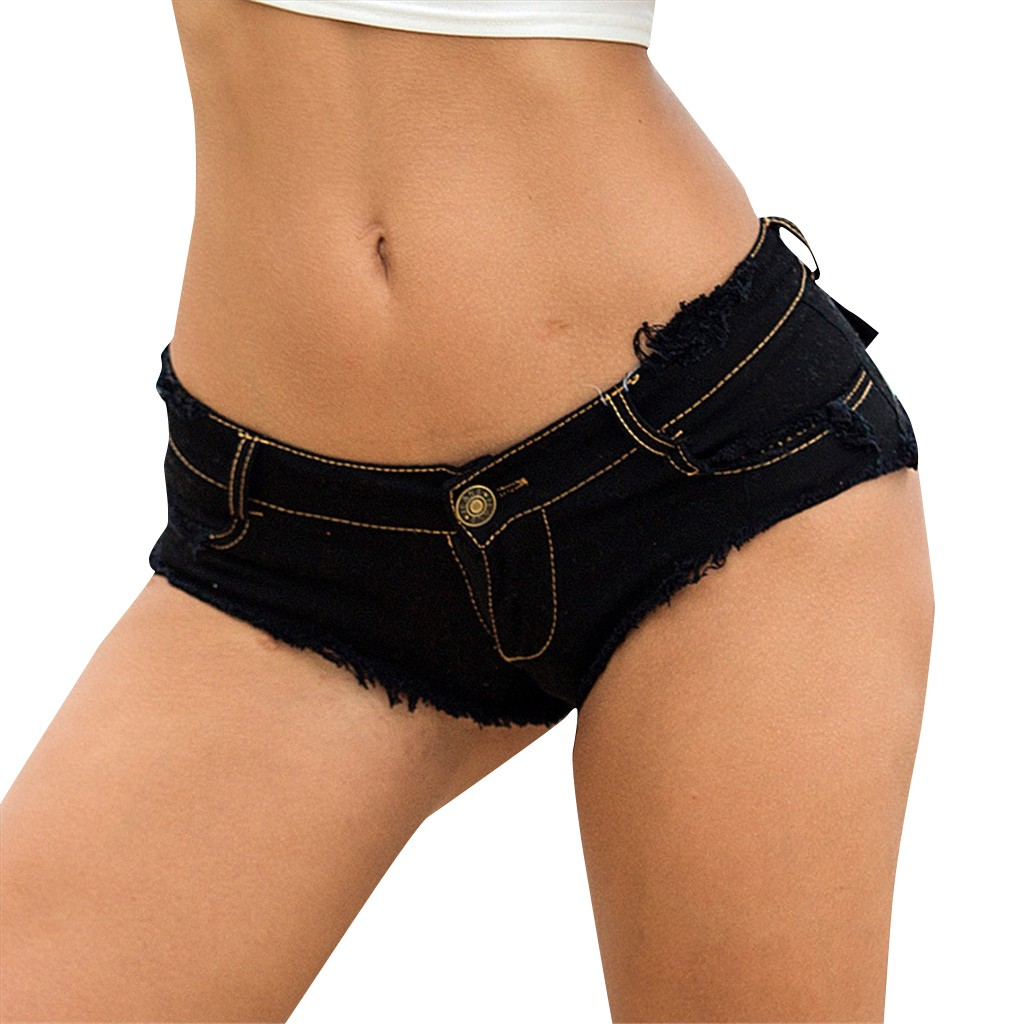 Sexy Button Low Waist Denim Jeans Shorts Women Super Mini Hot Shorts