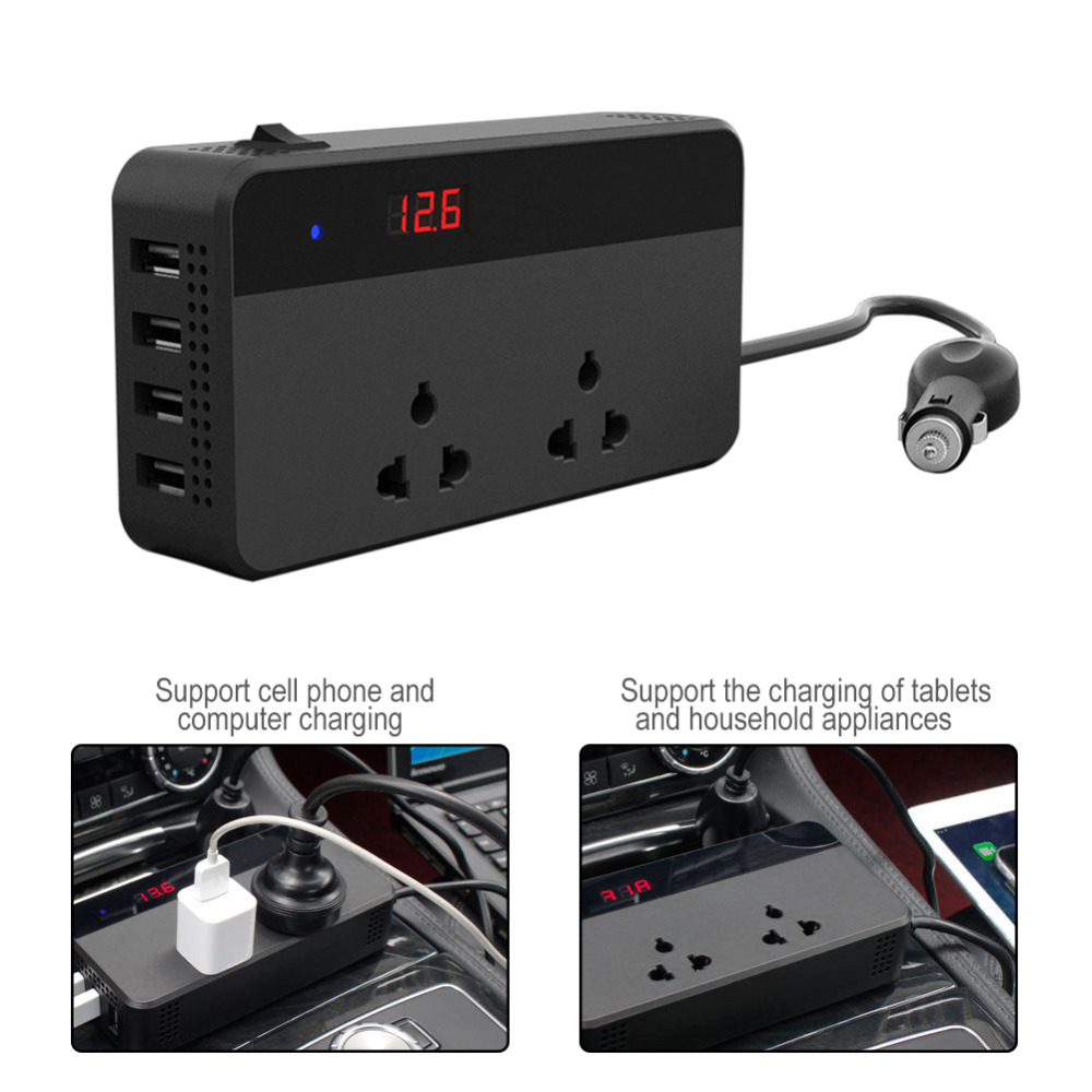 Car Inverters 200W Car Auto Power Inverter DC 12V To AC 220V With 4 USB Ports+ 2 220V Sockets Charger Splitter Car Accessories