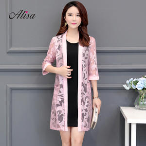 03919b6a0a2c alisawang 2018 Korean Long Coat Lace Summer Jacket Oversize