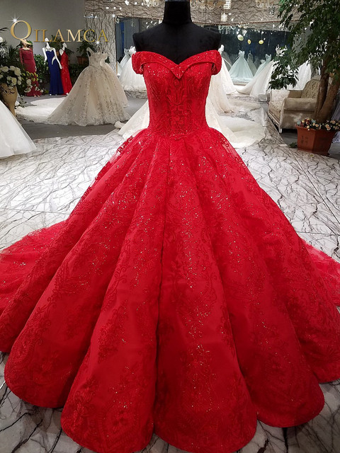 1d26534177850 2018 New Red Big Pleat Evening Dress Sweetheart Lace Beaded Ball Gown  Formal Dress Vestido Longo De Festa Real Photos