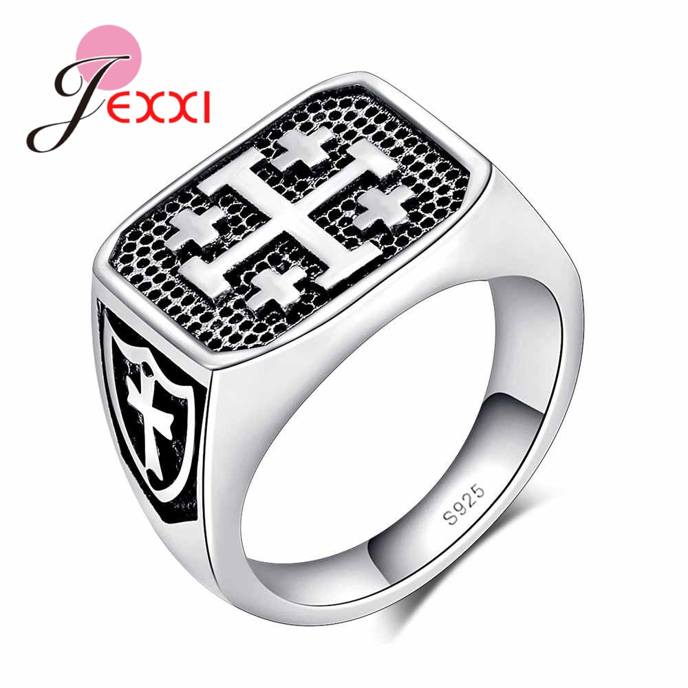 JEXXI Men Rings 925 Sterling Silver Jewelry Brand Classic Cross Pattern Fashion Party Wedding Engagamenr Finger Rings Bijoux