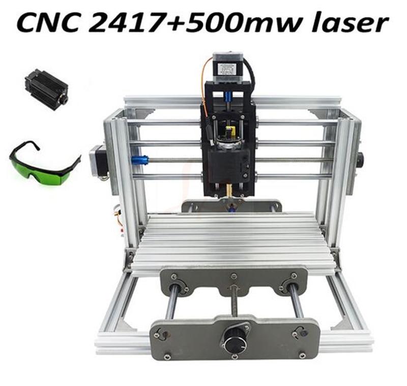 DIY CNC Router 2417 PCB Milling Machine + 500MW Laser Cutting Machine, no tax to EU 4 axis cnc cutting machine 300w wood pvc pcb milling machine no tax to eu