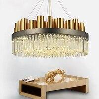 After The Modern Stainless Steel Bronze Chandelier Living Simple Atmospheric Art Lamp Crystal Lamp Nordic Villa