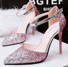 Size 4~8 Glitter Summer Women Shoes Wedding Shoes Thin Heels High Heels Shoes Women Pumps zapatos mujer (Check Foot Length)