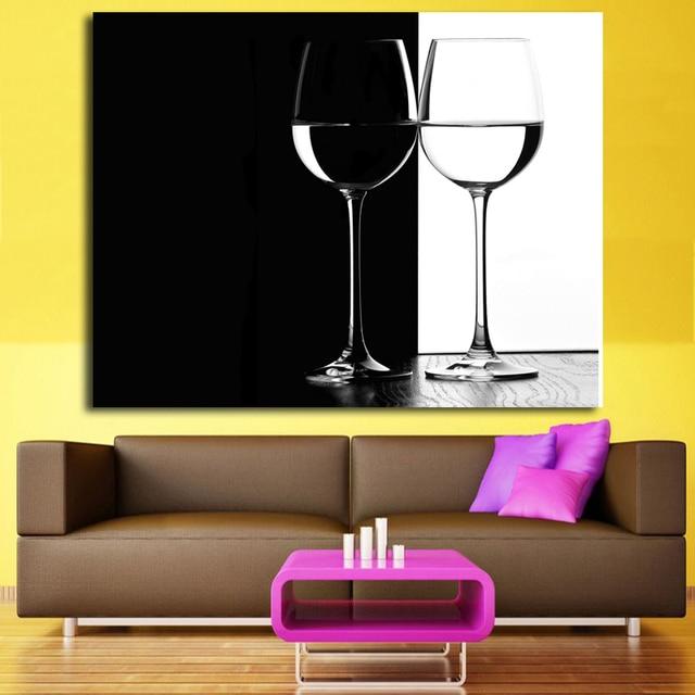 Elegant Moderne Abstrakte Kunst Schwarz Und Weiß Weinglas Malerei Gedruckt Auf  Leinwand Pop Art Für Esszimmer Wand