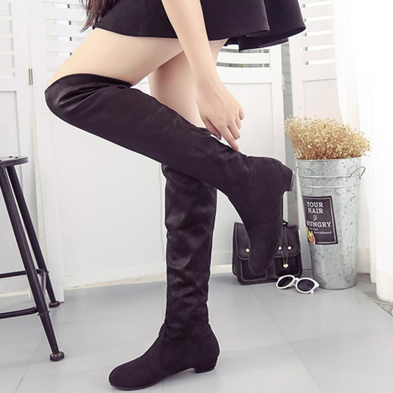 2018 Women Thigh High Boots Over The Knee Suede Boots Winter And Autumn Woman Shoes Plus Size 35-40 Botas Mujer Femininas *829