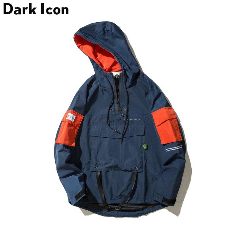 ダークアイコン DARKICON フロントポケット薄型スタイルカジュアルジャケット男性 2019 秋のストリートメンズジャケット男性服  グループ上の メンズ服 からの ジャケット の中 1