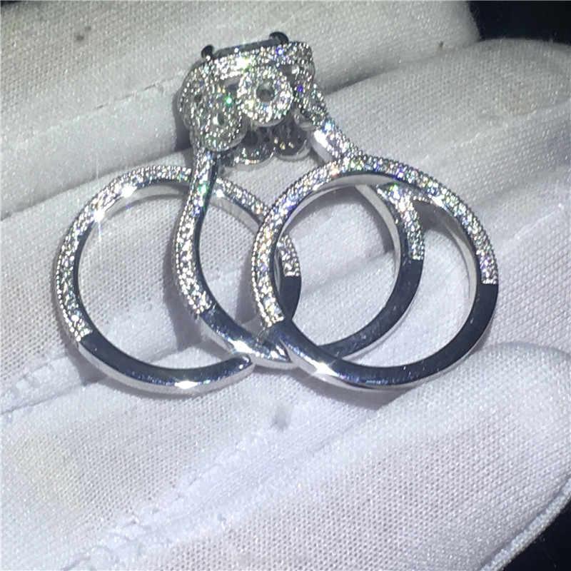 Choucong 3 - in - 1 Vintage แหวนชุด 5A Zircon cz 925 เงินสเตอร์ลิงแหวนหมั้นแหวนสำหรับเครื่องประดับ Party Party