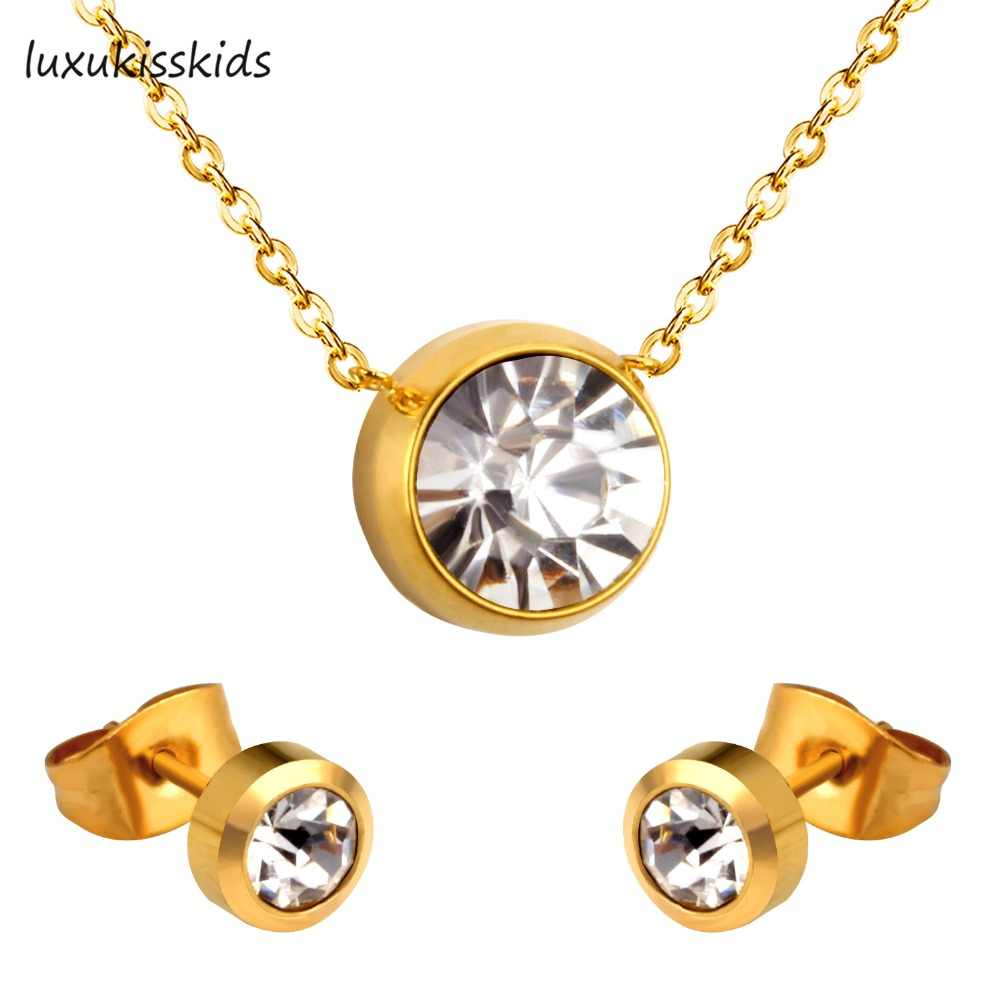 LUXUKISSKIDS Fashion Wedding Jewelry Round Necklace Pendant AAA Crystal Earrings Set For Women Accessories
