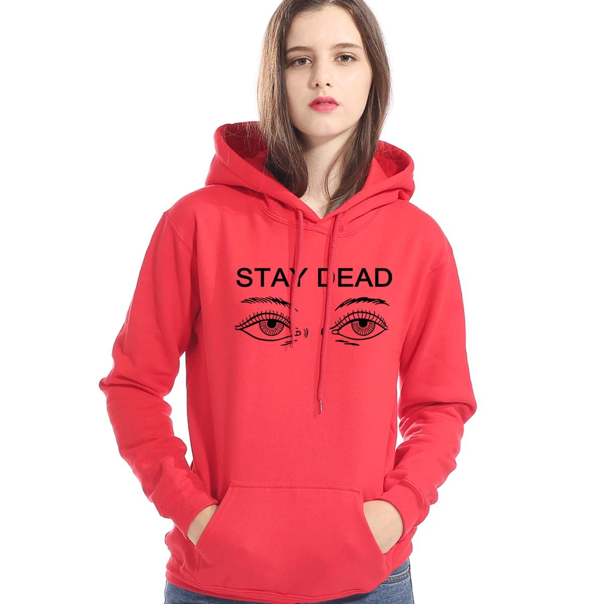 STAY DEAD Eyes Gothic Hoodies For Women 2019 Autumn Winter Brand Clothes Harajuku Women's Sweatshirt Hip Hop Coat Kpop Hoodie