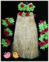 1set/lot Halloween party clothes 80cm adult hawaii hula skirt Elastic dancing color grass skirt Hawaii Dance Skirt sets