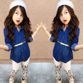 2016 New Kids Girls Jeans Long Sleeve Shirt+Leopard Pants +Belt Three-piece One Set Spring Autumn Girls Boutique Clothing 2T-8T