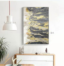 Handpainted Canvas Abstract Painting Large Original Oil Modern gold White Brown Contemporary design oil painting decor