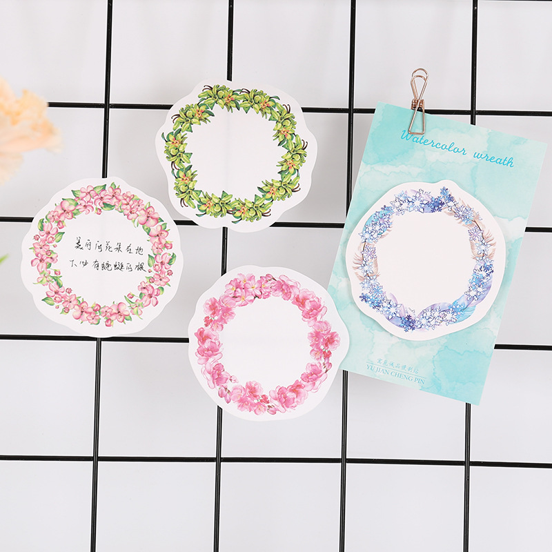 12 sets/1 lot Creative Wreath stickers Memo Pad Sticky Notes Escolar Papelaria School Supply Bookmark Post it Label